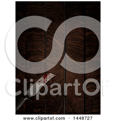 Clipart of a 3d Blood Stained Knife on a Wood Table - Royalty Free Illustration by KJ Pargeter