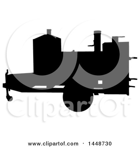Clipart of a Black Silhouetted Offset Barbeque Smoker Trailer - Royalty Free Vector Illustration by LaffToon