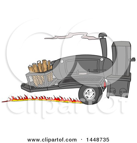 Clipart of a Cartoon Racing Lang 84 Inch Deluxe Barbeque Smoker Trailer - Royalty Free Vector Illustration by LaffToon