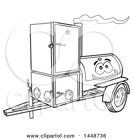 Clipart of a Cartoon Black and White Lineart Lang Offset Barbeque Smoker Trailer Mascot - Royalty Free Vector Illustration by LaffToon