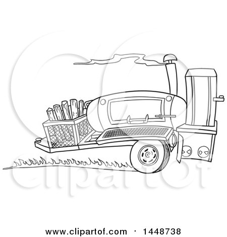 Clipart of a Cartoon Black and White Lineart Racing Lang 84 Inch Deluxe Barbeque Smoker Trailer - Royalty Free Vector Illustration by LaffToon
