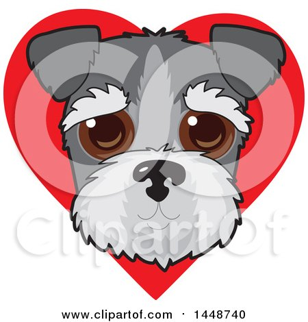 Clipart of a Cute Schnauzer Dog Face over a Red Love Heart - Royalty Free Vector Illustration by Maria Bell