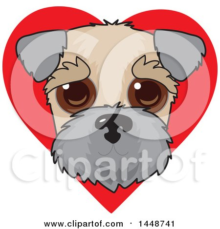 Clipart of a Cute Wheaten Terrier Dog Face over a Red Love Heart - Royalty Free Vector Illustration by Maria Bell