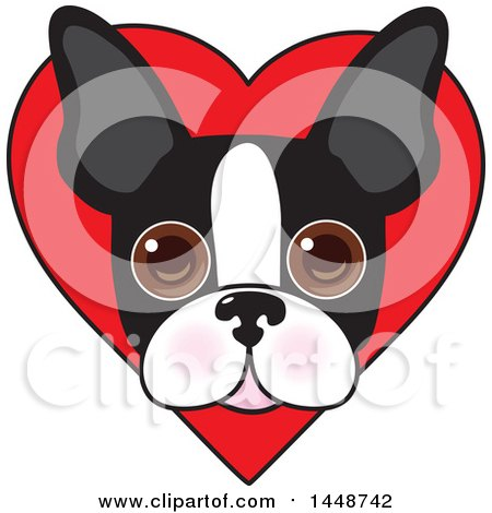 Clipart of a Cute Boston Terrier Face over a Love Heart - Royalty Free Vector Illustration by Maria Bell