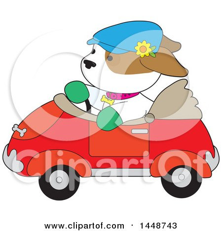 Clipart of a Cute Puppy Dog Driving a Convertible Car - Royalty Free Vector Illustration by Maria Bell
