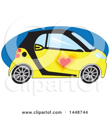 Clipart of a Cute Yellow and Black Smart Car with a Love Heart over a Blue Oval - Royalty Free Vector Illustration by Maria Bell