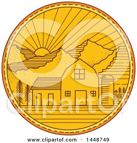 Clipart of a Sketched Mono Line Styled American Barn with Silo Against a Mountainous Sunset - Royalty Free Vector Illustration by patrimonio