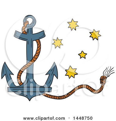 Clipart of a Sketched Drawing Styled Nautical Anchor and Rope with the Southern Star Constellation - Royalty Free Vector Illustration by patrimonio