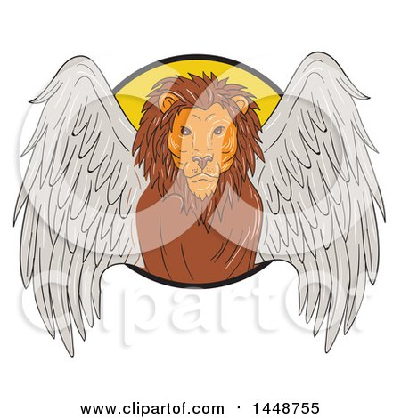 Clipart of a Sketched Drawing Styled Winged Lion Emerging from a Circle - Royalty Free Vector Illustration by patrimonio