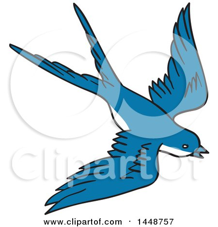 Clipart of a Sketched Drawing Styled Flying Blue Swallow Bird - Royalty Free Vector Illustration by patrimonio
