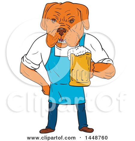 Clipart of a Cartoon Sketched Styled Bordeaux Mastiff Dog Wearing an Aprion and Holding a Beer Mug - Royalty Free Vector Illustration by patrimonio