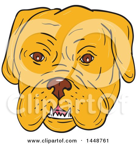 Clipart of a Cartoon Sketched Styled Bordeaux Mastiff Dog Face - Royalty Free Vector Illustration by patrimonio