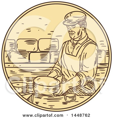 Clipart of a Sketched Drawing Styled Man Making Cheese - Royalty Free Vector Illustration by patrimonio