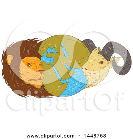 Clipart of a Sketched Drawing Styled Globe of the Middle East with a Lion and Goat - Royalty Free Vector Illustration by patrimonio