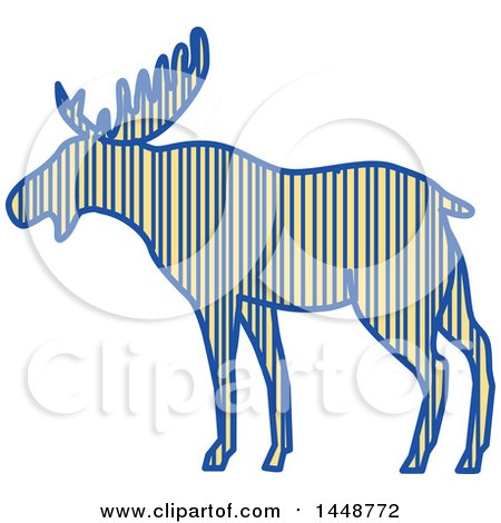 Clipart of a Sketched Drawing Styled Striped Moose in Profile - Royalty Free Vector Illustration by patrimonio