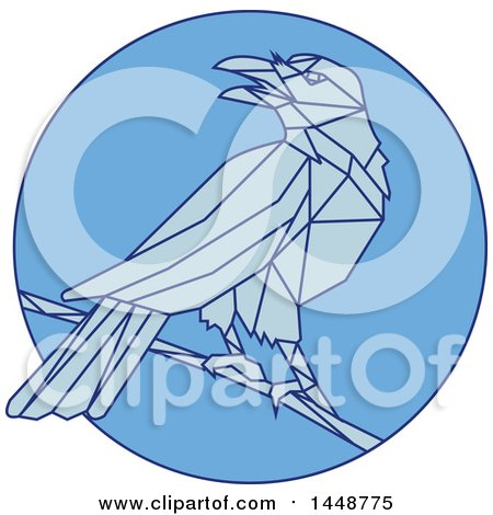 Clipart of a Sketched Mono Line Styled Perched Crow Bird in Blue Tones - Royalty Free Vector Illustration by patrimonio