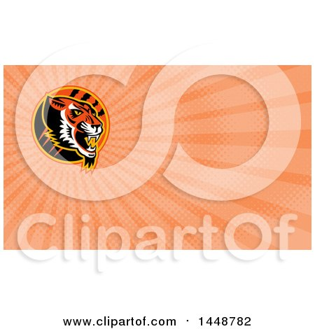 Clipart of a Growling Tiger Head in a Circle with Slash Marks and Orange Rays Background or Business Card Design - Royalty Free Illustration by patrimonio