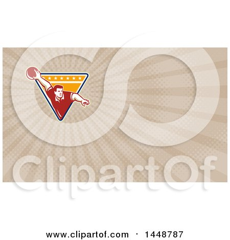 Clipart of a Retro Man Ten Pin Bowling in a Triangle and Brown Rays Background or Business Card Design - Royalty Free Illustration by patrimonio