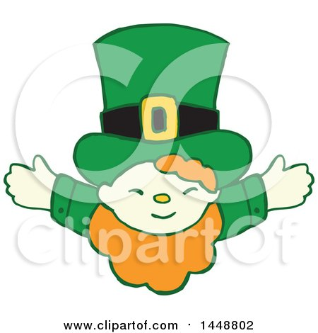 Clipart of a Cute St Patricks Day Leprechaun with Open Arms - Royalty Free Vector Illustration by Cherie Reve