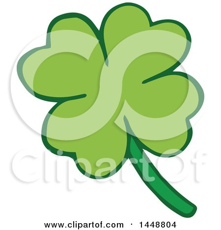 Clipart of a Four Leaf St Patricks Day Clover Shamrock - Royalty Free Vector Illustration by Cherie Reve