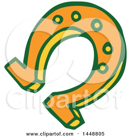 Clipart of a St Patricks Day Lucky Horse Shoe - Royalty Free Vector Illustration by Cherie Reve