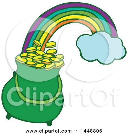 Clipart of a St Patricks Day Pot of Leprechauns Gold at the End of a Rainbow - Royalty Free Vector Illustration by Cherie Reve