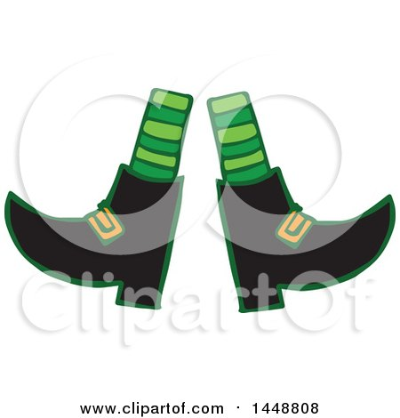Clipart of a St Patricks Day Leprechauns Feet and Socks - Royalty Free Vector Illustration by Cherie Reve