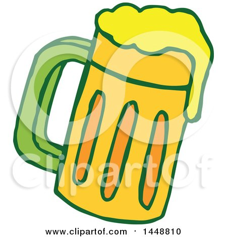 Clipart of a St Patricks Day Beer Mug - Royalty Free Vector Illustration by Cherie Reve