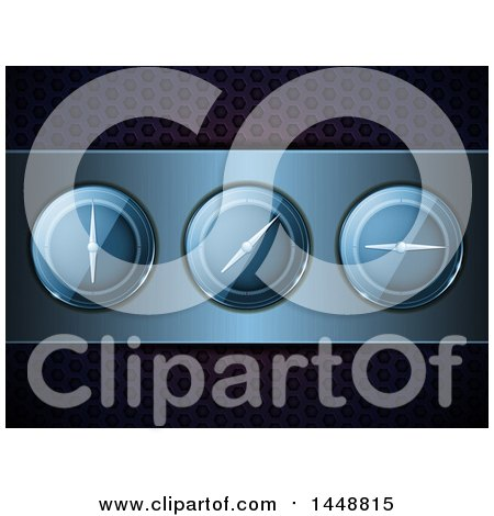 Clipart of a Panel of 3d Dials over Perforated Metal - Royalty Free Vector Illustration by elaineitalia