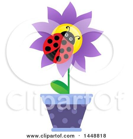 Clipart of a Ladybug on a Purple Potted Flower - Royalty Free Vector Illustration by visekart