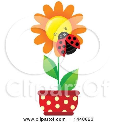 Clipart of a Ladybug on an Orange Potted Flower - Royalty Free Vector Illustration by visekart