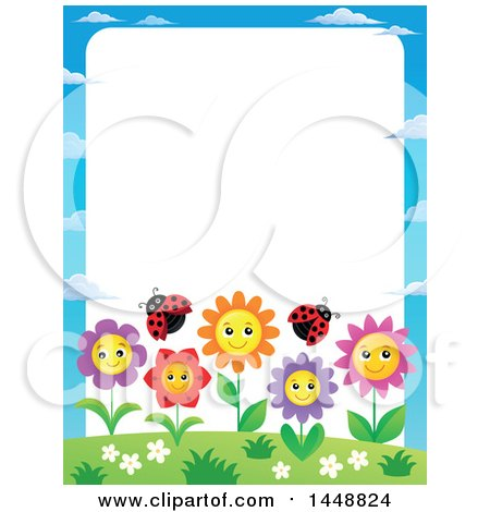 Clipart of a Border of Happy Flowers and Ladybugs - Royalty Free Vector Illustration by visekart