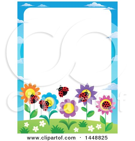 Clipart of a Border of Flowers and Ladybugs - Royalty Free Vector Illustration by visekart