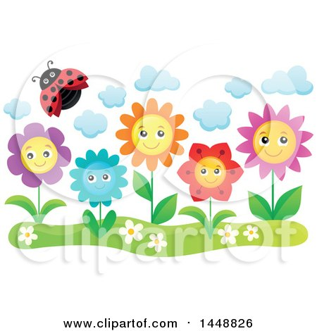 Clipart of a Ladybug Flying over Happy Flowers - Royalty Free Vector Illustration by visekart