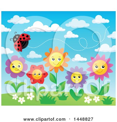 Clipart of a Ladybug Flying over Happy Flowers and Blue Sky - Royalty Free Vector Illustration by visekart