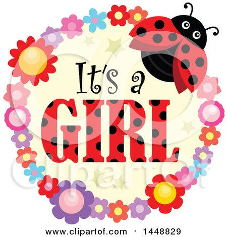 Clipart of a Ladybug and Flower Frame with Its a Girl Text - Royalty Free Vector Illustration by visekart