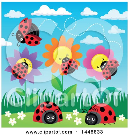 Clipart of Ladybugs and Flowers - Royalty Free Vector Illustration by visekart