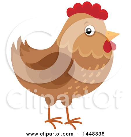 Clipart of a Brown Hen - Royalty Free Vector Illustration by visekart