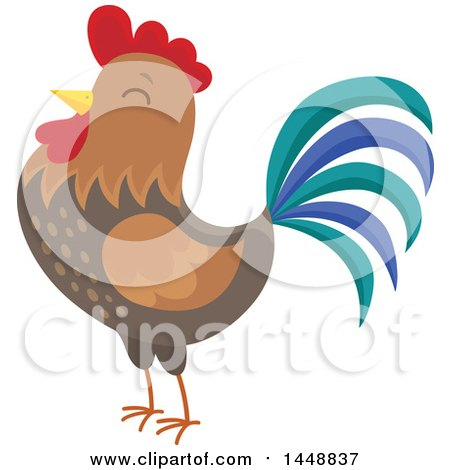Clipart of a Crowing Rooster - Royalty Free Vector Illustration by visekart