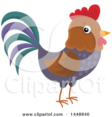 Clipart of a Cute Rooster - Royalty Free Vector Illustration by visekart