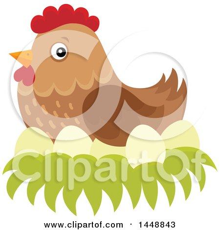 Clipart of a Brown Hen Nesting - Royalty Free Vector Illustration by visekart