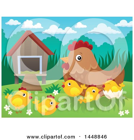 Clipart of a Hen and Chicks by a Coop - Royalty Free Vector Illustration by visekart