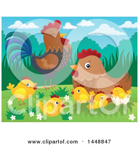 Clipart of a Rooster, Hen and Chicks - Royalty Free Vector Illustration by visekart