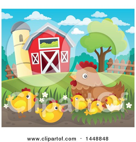 Clipart of a Hen and Chicks by a Barn - Royalty Free Vector Illustration by visekart