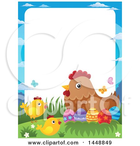 Clipart of a Border of a Hen and Chicks with Easter Eggs - Royalty Free Vector Illustration by visekart