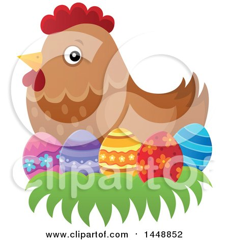 Clipart of a Brown Hen Nesting on Easter Eggs - Royalty Free Vector Illustration by visekart