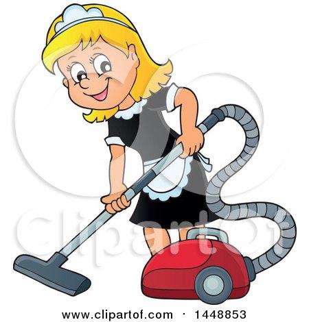 Cartoon Happy Blond Maid Vacuuming Posters, Art Prints