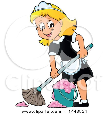 Clipart of a Cartoon Happy Blond Maid Mopping - Royalty Free Vector Illustration by visekart