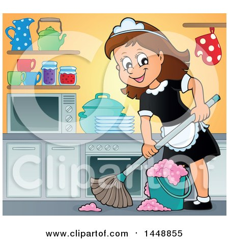Clipart of a Cartoon Happy Brunette Maid Mopping a Kitchen - Royalty Free Vector Illustration by visekart