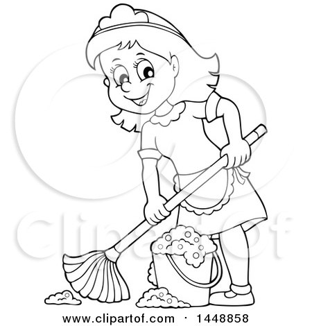 Clipart of a Cartoon Black and White Lineart Happy Maid Mopping - Royalty Free Vector Illustration by visekart